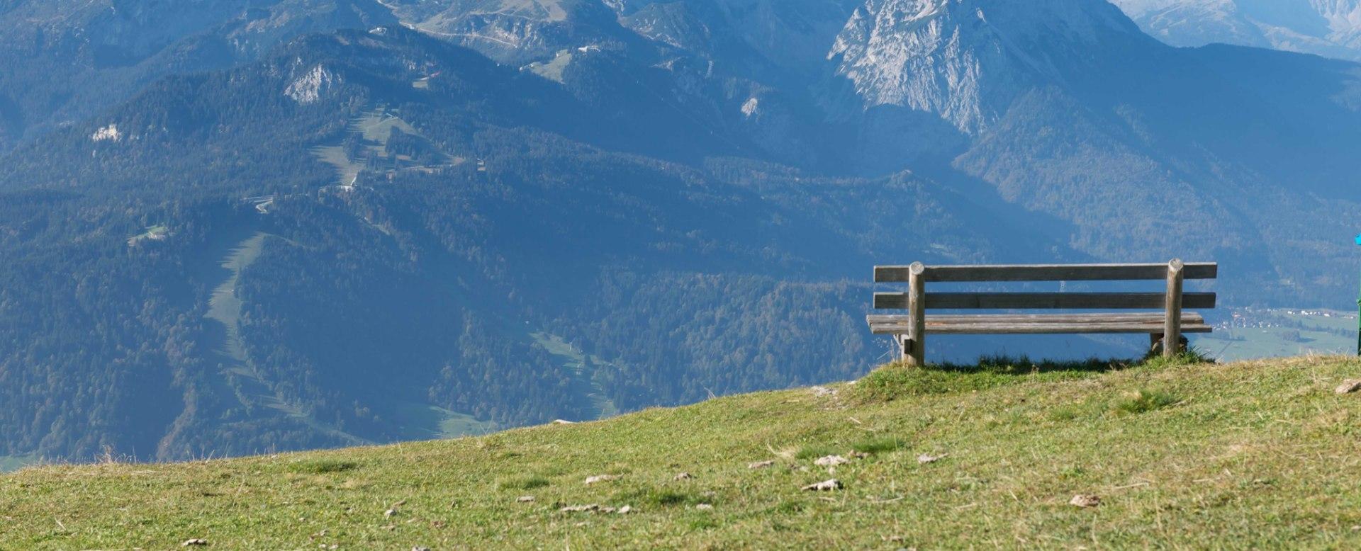Wank mit Aussicht auf Zugspitzmassiv, © Bayerische Zugspitzbahn Bergbahn AG